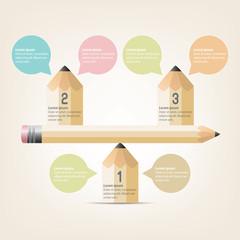 Education Infographics pencil Template Design