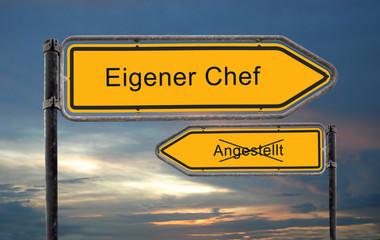 Strassenschild 18 - Eigener Chef