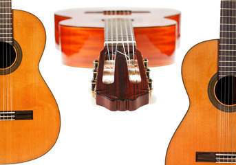 set of spanish acoustic guitars close up