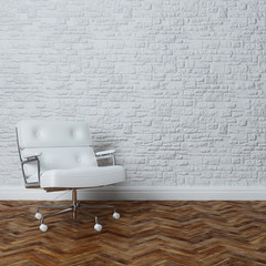 White Brick Wall Office Inteior Leather Armchair