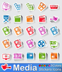 Media player stickers icon in five colours