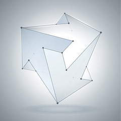 Abstract form, transparent geometric shapes, 3 arrows, crystal