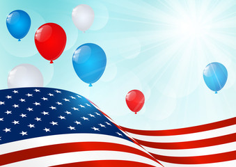 Independence Day card with American flag and balloons
