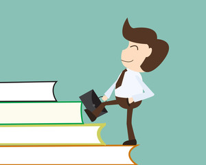 People development concept - Businessman acquires knowledge over