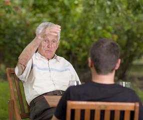 Chatting in garden