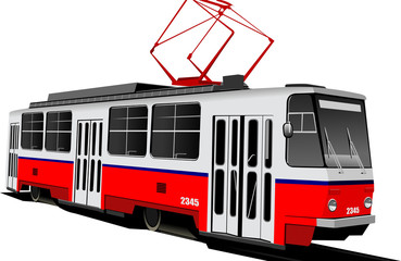City transport. Tram. Colored Vector illustration for designers