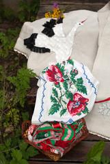 Белорусская вышивка цветы и аист