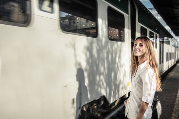 catching her train