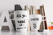 Close up of two white coffee mug with diy decoration. - 65025003