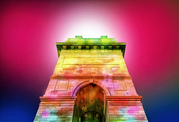 colorful abstract india gate at delhi