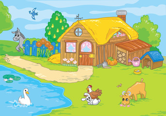 Cartoon farm and cute animals for kids