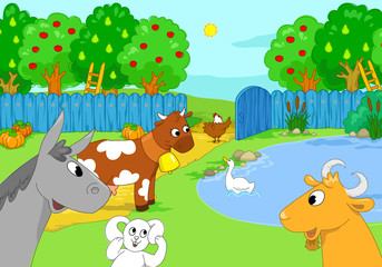 Cartoon funny cute animals at the lake