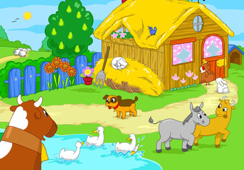 Cartoon farm animals. Cute illustration for kids