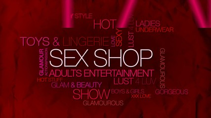 Sex shop boutique adults word tag cloud video teaser