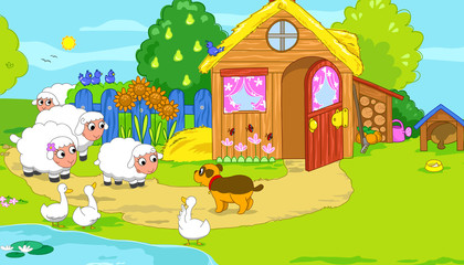 Cute funny farm animals for kids