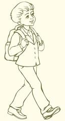 Vector drawing. Schoolboy goes to school