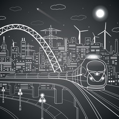 Vector lines train on the bridge, background of the light city