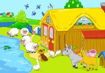Cute funny animals in a farm