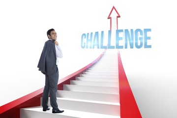 Challenge against red arrow with steps graphic
