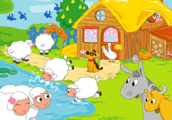 Funny farm animals playing together