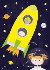 children, rocket, outer space - vectors