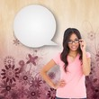 Composite image of pretty brunette thinking with speech bubble