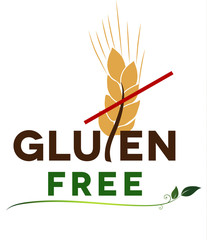 Gluten free message, artistic design. Health care diet.
