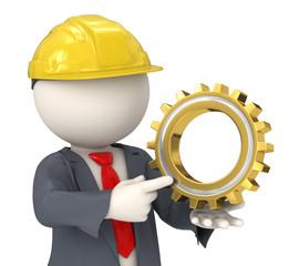 3d constructor business man holding a gear