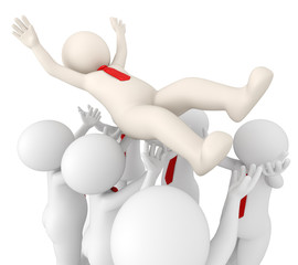 3d successful team leader tossed in air by his team