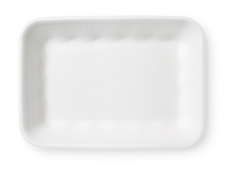 Styrofoam food tray isolated on white with clipping path