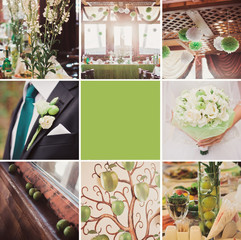 Green wedding collage