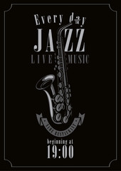 poster for a jazz concert with saxophone