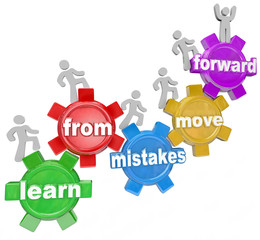 Learn From Mistakes Move Forward People Climbing Gears