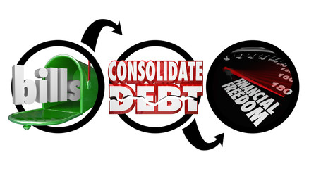 Bills Consolidate Debt Financial Freedom Diagram Reduce Money Ow