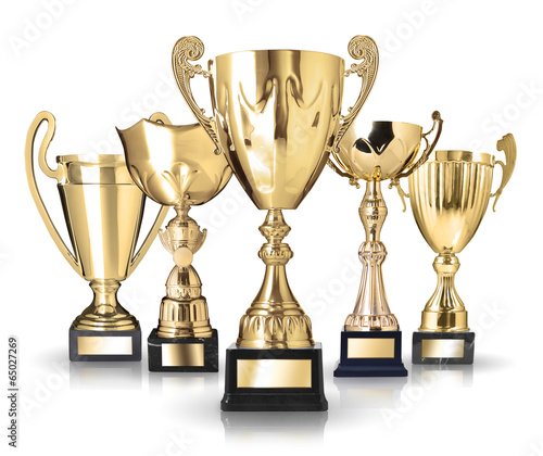 Set of golden trophies. Isolated on white background - 65027269