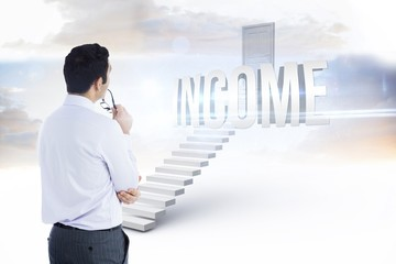 Income against white steps leading to closed door