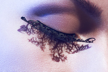 close up face with glamour artificial lashes