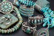 Leinwanddruck Bild - Collection of Vintage Turquoise and Silver Jewelry.