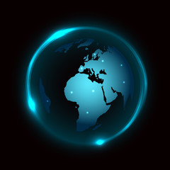 Vector globe on dark background with blue neon light