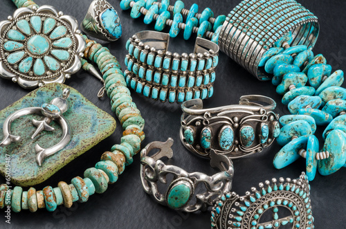 Leinwanddruck Bild Collection of Vintage Turquoise and Silver Jewelry.