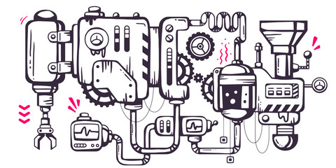 Vector industrial illustration background of the operating mecha