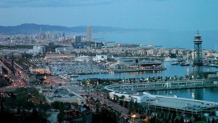 Port Vell in evening. Barcelona, Spain
