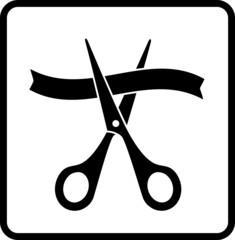 sign with scissors cutting ribbon