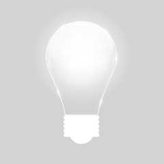 Glowing Bulb on Gray Background, Vector Illustration.