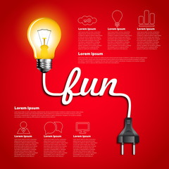 Creative light bulb fun abstract infographic, Inspiration concep