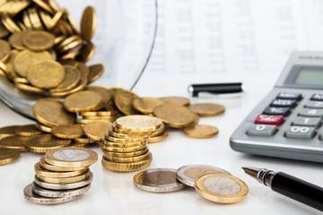 Kleingeld und Taschenrechner