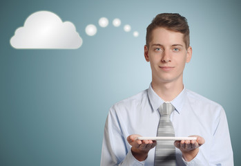 Businessman thinking cloud or computing