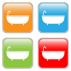 Bathtub icons set