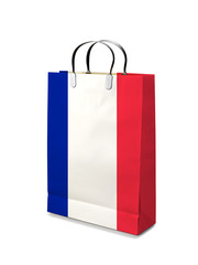 Shopping bag with France flag. Retail business