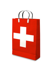 Shopping bag with Swiss flag. Retail business